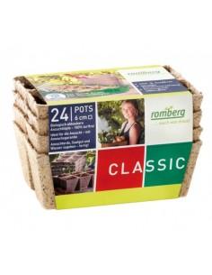 24 pots biodégradables 6 cm carré